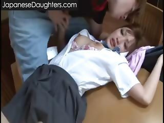 Cute blonde japanese teen assfucked hard