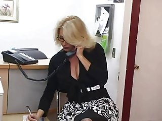 Mature secretary gets cum on her big tits