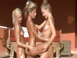 Three blonde lezzs excercising outside