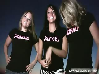 Group of cute chick with nice tits touch part6