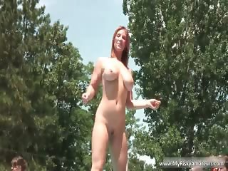 Busty ginger teen washing herself part6