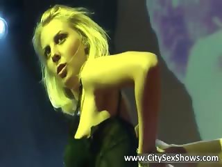 Foxy blonde bitch dancing and stripping part4