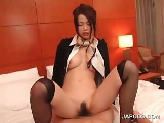 Asian sexy stweardess riding lusty cock in bed