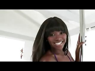 Perfect little ebony teen fucks a white cock