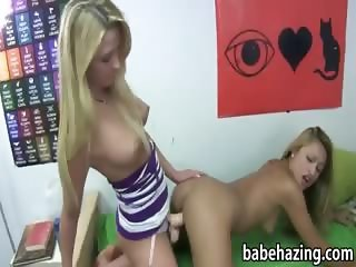 Sexy hotties get down on each other and fucked by strap on