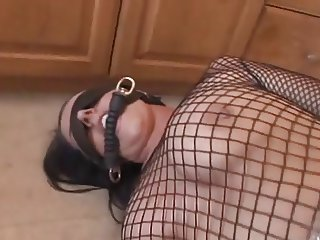 British pornstar is tied up and gets fucked up the arse