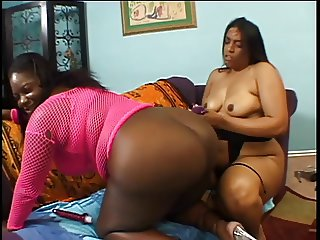 Lesbians black milfs big boobs licked and ass fucked with toy on the floor