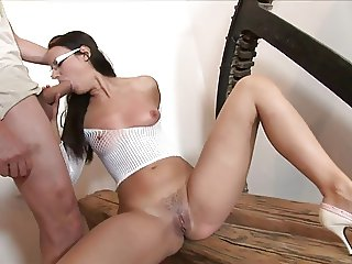 Hot babe in high heels and glasses fucked hard