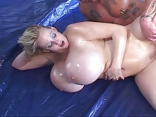 Kayla: Huge Fake Oily Tits