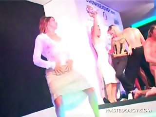 CFNM hardcore sex party with blonde slut dancing wet