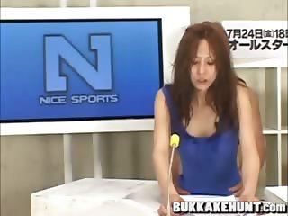 newscaster in asian bukkake tv