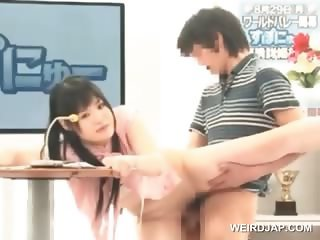 Sweet asian girl fucked hard during her TV show