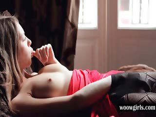 Sensual solo scene with Blonde cutie touching tits