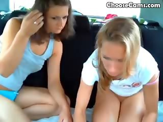 Girls Playing Around In Their Car