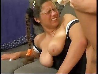 Four Eyed Pigtail Hairy Teen Nerd Gets Fucked