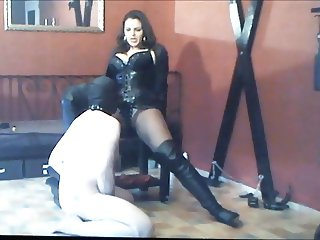 slave sucks cock and anal