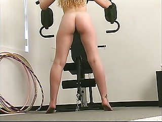 Blond works out and dildo fucks her pussy
