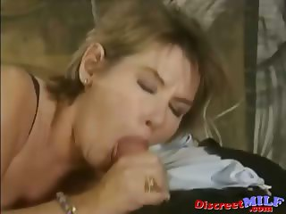 MILF fucked by mature lesbian and a young man