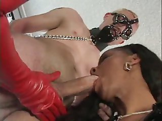 Ebony latex busty FFM BJ Titfuck Strapon DP