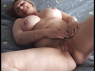 Busty mature wife shows off her huge tits & wet pussy