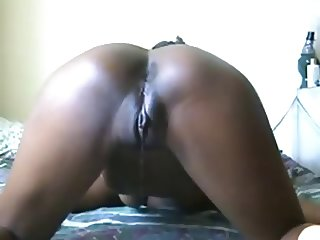 Black pussy dripping from sucking cock