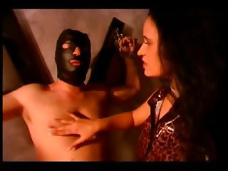 Hot domina fucking her slave in his ass