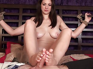 Tied up footjob