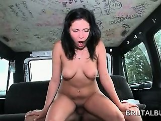 Amateur hot brunette riding cock to orgasm in the sex bus