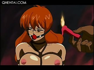 Bonded hentai girl gets sexually hardcore tortured and fucked