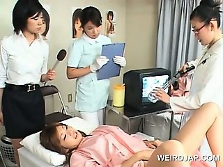 Japanese hairy pussy check at the doctors