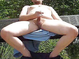 Jerking off at the park in public exhibitionist nude