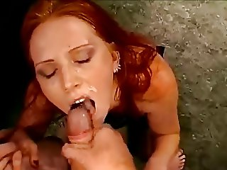 Beautiful german redhead in a bukkake classic