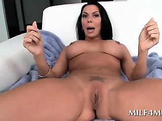 Wide spread hot MILF playing with bald juicy snatch