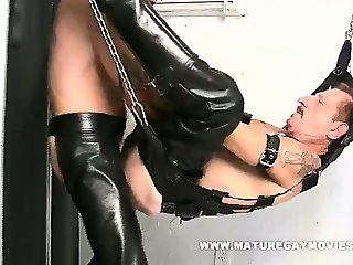 Leather Daddies Fucking In The Sling