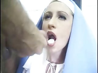 Nun Mary takes host with Cum