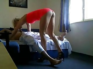 Long legs blond prostitute at work hidden camera