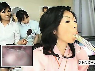 Subtitled Japanese doctor blowjob mouth cam inspection