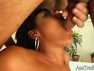 Loona is a sexy chick with a massive clit. Two guys pound her tight ass hard like there's no tomorrow. She swallows two big loads of cum