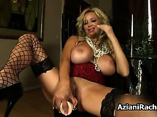 Busty blonde babe goes crazy dildo part4