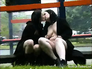 Lesbian chicks make out in public