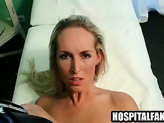 Blonde babe sucks cock and get fucked by her doctor