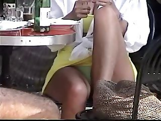 Beautiful blonde milf sitting upskirt green panty