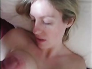 Cockrubbing her nipple and sperm blasting her eye