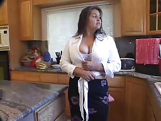 Spurting Cum Across Her Mature Hairy Pussy