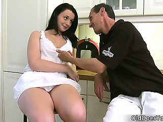 Cute and sexy brunette babe gets all part4