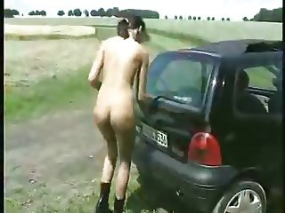 Skinny German Analslut outdoors (real Amateur)