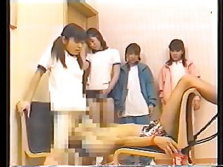 4 japanese schoolgirls and their oral sex slave - part 1