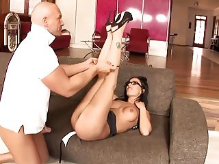 Teen Brunette with High Heels and Glasses Fuck Hard