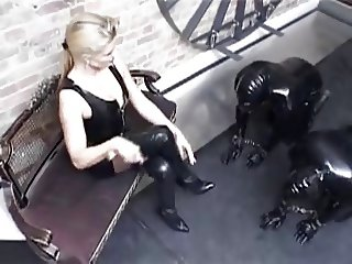 Blond German latex Mistress