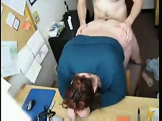 Chubby fucked hard in the desk